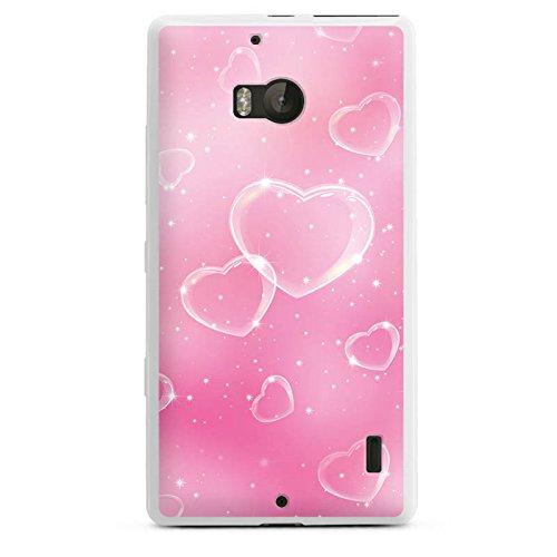 DeinDesign Silikon Hülle kompatibel mit Nokia Lumia 930 Case weiß Handyhülle Herz Valentinstag Seifenblase