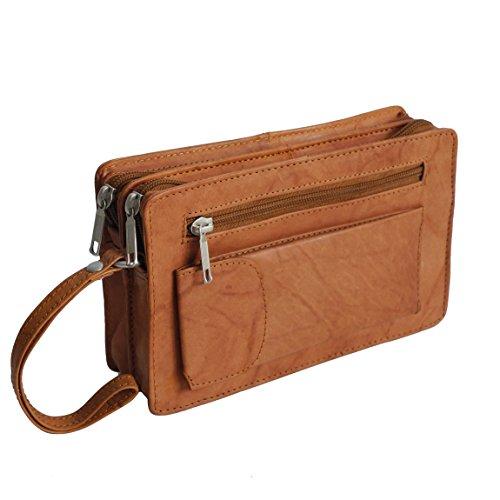 Bag Street Leder - Exquisite Leder Herren Handgelenktasche, Herrentasche, Handtasche, Handgepäck-Tasche (Tan - Doppelkammer) - präsentiert von ZMOKA®