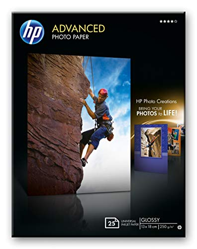 HP Advanced Q8696A- Papel fotográfico satinado con brillo (25 hojas, 13 x 18 cm)