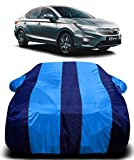 AUCTIMO® Prime Quality 190T Imported Fabric Car Cover for Honda All New City 2020 with Ultra Surface Body Protection (Blue Stripes)