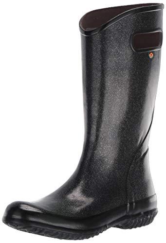 BOGS Women's Rainboot Glitter Print Waterproof Rain Boot, Black, 10
