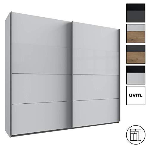 mokebo® Kleiderschrank 'Der Schieber', moderner Schwebetürenschrank 2-türig mit Einlegeböden, Made in Germany, B 225cm | H 208cm & Weiß mit Weißglas