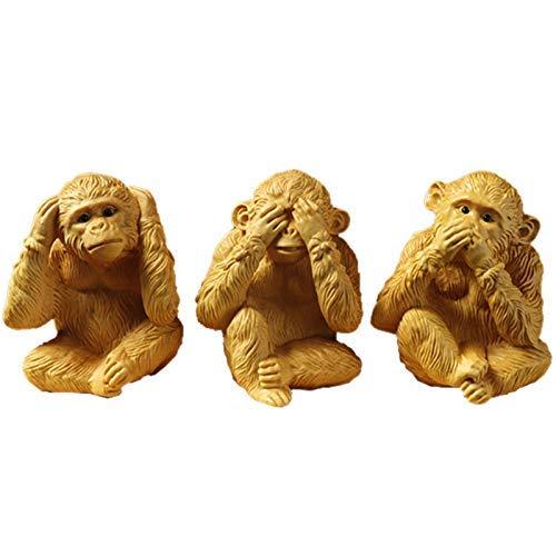 L.TSN No Evil Monkey Figurine Statue, See No Evil Hear No Evil Speak No Evil Monkeys Escultura Decoraciones, Atrae la Calma, Adornos de Oficina en casa de Madera de boj, Set