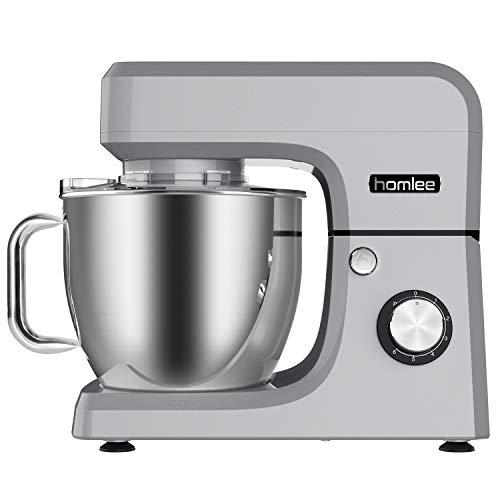 Homlee 1800W Batidora Amasadora, Alto Voltaje Profesional Amasadora de pan Automática Multifuncional, Robot de Cocina Multifuncional,6.5 litros, 6 velocidades Plata