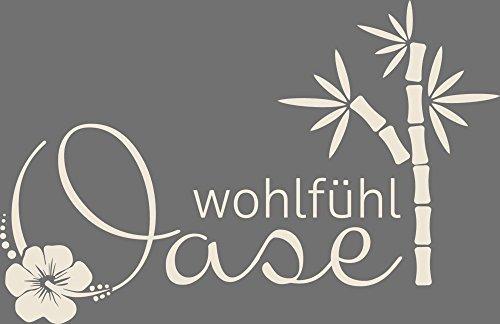 Wandtattoo für Badezimmer Spruch Wohlfühl Oase   Wand-Aufkleber für Dein Bad und WC   Tür-Schild Wellness-Aufkleber   auch für Spiegel - Fenster- Dusche geeignet (62x40cm // 816 Antique White)