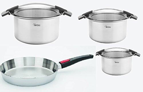 Woll Set de 4 casseroles avec couvercles et poêle en acier inoxydable Concept pro Passe au four Répartition optimale de la chaleur Avec couvercle en verre et silicone
