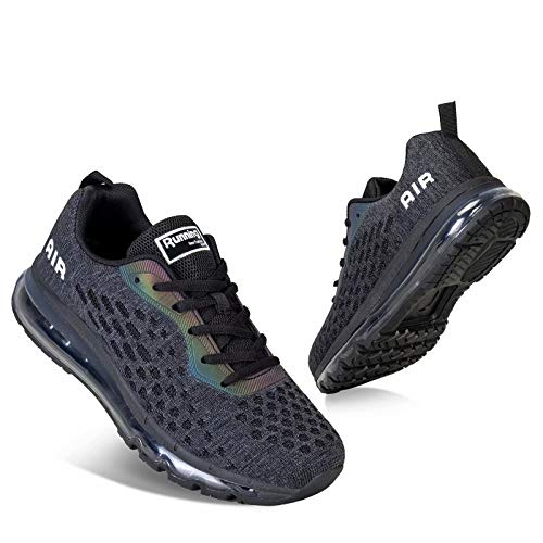 Mens Trainers Ladies Running Shoes Womens Sport Shoes Walking Shoes with Air Cushion for Gym Indoor Outdoor Fitness(Black 8078,5.5 UK,39 EU)
