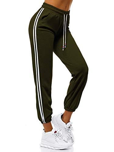 MOODOZ Damen Jogginghose Hose Trainingshose Sporthose Freizeithose Motiv Damenhose Fitnesshose Sweatpants Sweathose Fußballhose Joggpants JS/01020/A7 Khaki M