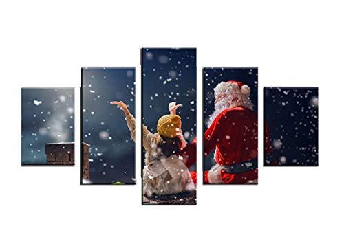 Dekorative Tusche Ölgemälde fünf Gemälde Weihnachtsmann und kleines Mädchen Wohnzimmer Schlafzimmer Wanddekoration Gemälde rahmenlose Malerei Kern30*80cm
