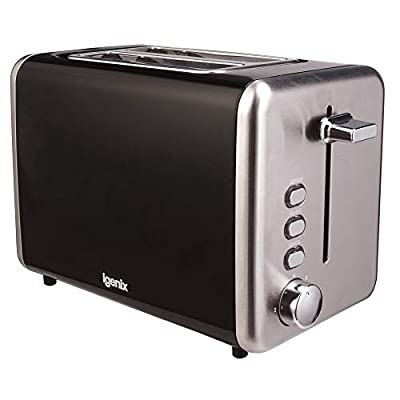 Igenix IG3000W Two Slice Toaster, Deep Slots with Adjustable Browning Control, Slide Out Crumb Tray for Easy Cleaning, Defrost and Reheat Function