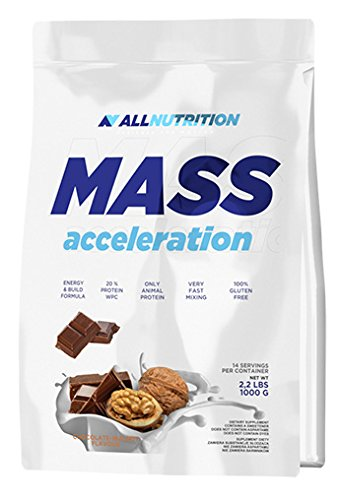 ALLNUTRITION Mass Acceleration Protein Carbohydrate Complex Training Bodybuilding (1000g Chocolate Cookies - Chocolate Biscuits)