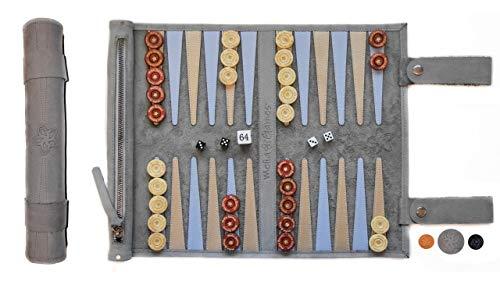 Melia Games Backgammon zum Rollen - Reise-Backgammon aus feinstem Nubuk Echt-Leder mit handgefertigten Holzspielsteinen - Farbe: Grey