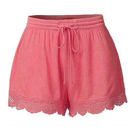 Damen Shorts Sommer Große Größen Kurze Hose mit Gummizug Stretch Shorts Damen Sommerhose High Waist Shorts Lose Hot Pants Retro Casual Fit elastische Taille Tasche Shorts