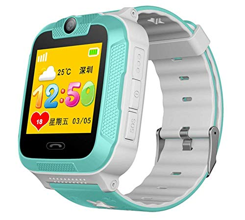 Smart watch Phone for Kids -GPS Tracker,with 1.4 Inch Touch Colorful Display Camera Alarm Clock SOS Remote Alarm Pedometer,The Best for Kids (Color : LightGree)
