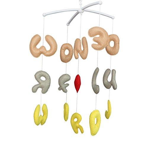 Jouets suspendus alphabet,Cadeau d'anniversaire,Mobile musical [Wonderful World]