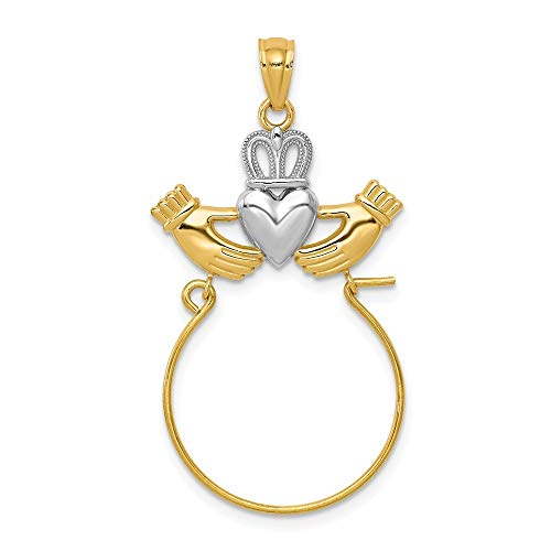 14k Yellow Gold Polished Open back Textured back and Rhodium Irish Claddagh Celtic Trinity Knot Charm holder Pendant Necklace Jewelry Gifts for Women