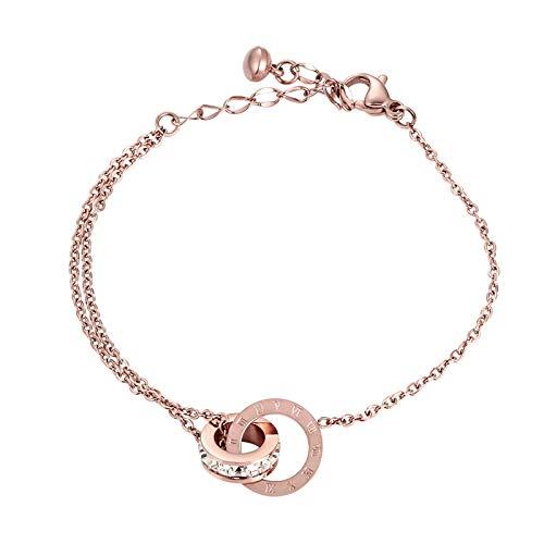yqs Pulsera Hermoso círculo brillante círculo de cristal número romano para mujer joyería de acero inoxidable