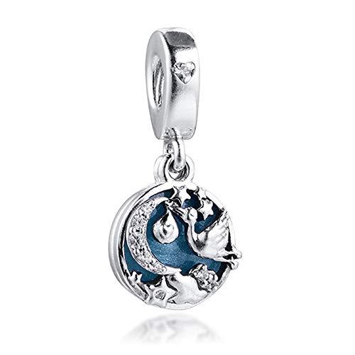 MOCCI 2020 regalo del día de la madre cigüeña y estrellas de destello de cuentas de plata 925 DIY se adapta a pulseras originales Pandora joyería de moda