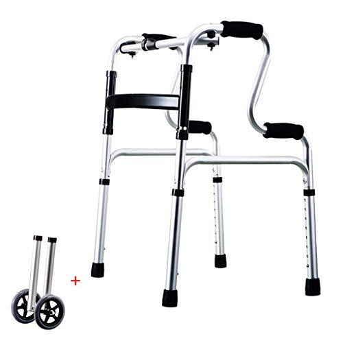 Walker, Andador Plegable Bariátrico De Servicio Pesado con Ruedas para Personas Mayores - Andadores Adultos - Ayuda De Movilidad Portátil para Personas Mayores De Altura Ajustable