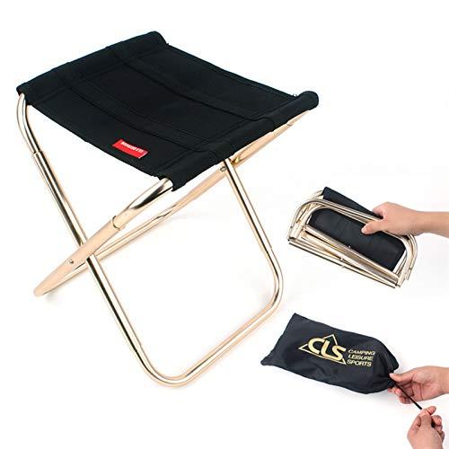Taburete Plegable portátil de aleación de Aluminio Ultraligero, Silla de Camping de Pesca Plegable, Asiento de Playa de Picnic BBQ, Bolsa de Almacenamiento FDWFN (Color : M Black)