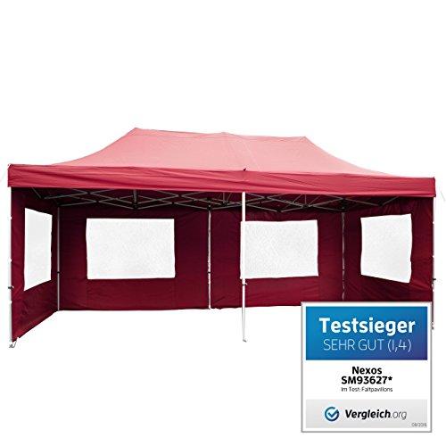 Nexos PROFI Faltpavillon Partyzelt Pavillon 3x6 m mit Seitenteilen - hochwertige Ausführung - wasserdichtes Dach mit PVC-coating - 270 g/m² incl. Tragetasche und Zubehör – Farbe: burgund