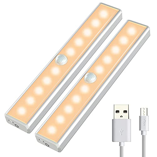 OUSFOT Under Cabinet Lighting, 10 Led Closet Lights Motion Sensor Indoor Wireless USB Rechargeable Battery with 4 Magnetic Strips for Cupboard/ Wardrobe/ Stairs/ Wall Upgraded Version (2 Pack)