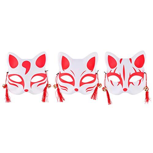 PRETYZOOM 3 Piezas Kitsune Fox Máscara Media Cara con Campanas de Borla de Plástico Japonés Kabuki Kitsune Máscara Cubierta para Halloween Mascarada Cosplay Baile Fiesta (Estilo Aleatorio)
