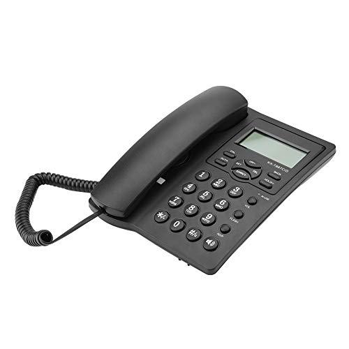 PUSOKEI Teléfono con Cable de Escritorio, teléfono con Cable Manos Libres, teléfono Fijo con Pantalla LCD y alarmas de 3 Grupos, para Hotel de Oficina en casa(Negro)