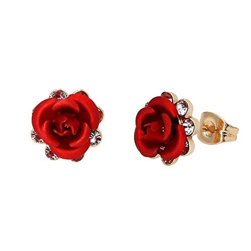 Yoursfs Sexy Coral Red Rose pendientes de la flor para las mujeres 18 K chapado en oro brillante Crystal Post Stud pendientes de regalo de la joyería de la boda