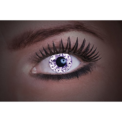 Eyecatcher Diamond UV, Farbige Kontaktlinsen, black, Leuchten im Schwarzlicht, 1er Pack (1 x 2 Stück)