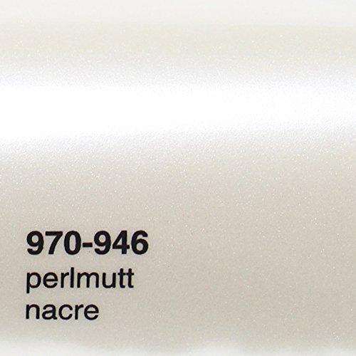 20,72€/m² Oracal 970 RA 946 Perlmutt Weiß Metallic Glanz gegossene Profi Autofolie 152cm Breite BLASENFREI Mit Luftkanäle / Gratis Rapid Teck® Rakel | Oracal 970RA