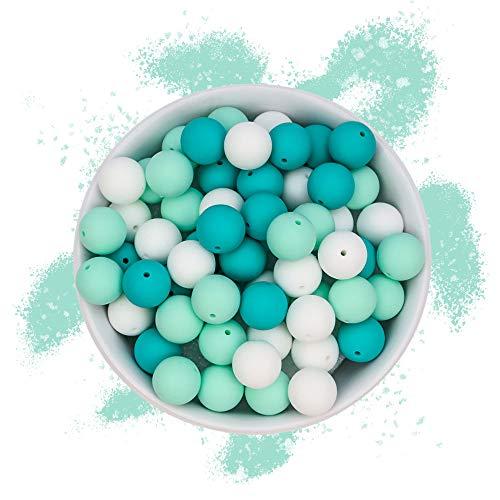 RUBY - 60 Cuentas de silicona, piezas de silicona alimentaria para montar chupeteros/collares/mordedor lactancia colores combinados (Mar de Sabidurías, Bolas Ø15mm)