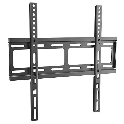 RICOO Fernseher TV Wand-Halterung Flach Ultra-Slim Fix (F0244) Universal für 26-55 Zoll (bis zu 60-Kg, Max-VESA 400x400) Curved LCD OLED Bildschirm-Halter Fernsehhalterung