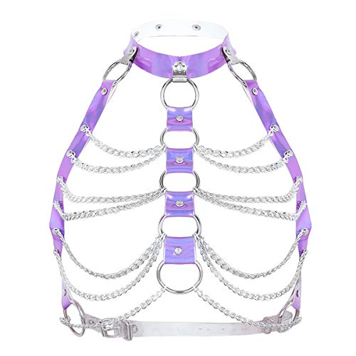 CHICTRY Damen Gothic Kostüm Punk Körpergeschirr Brust Harness Wetlook Oberteile mit Leder Halsband und Metallic Kette Quaste Violett One Size