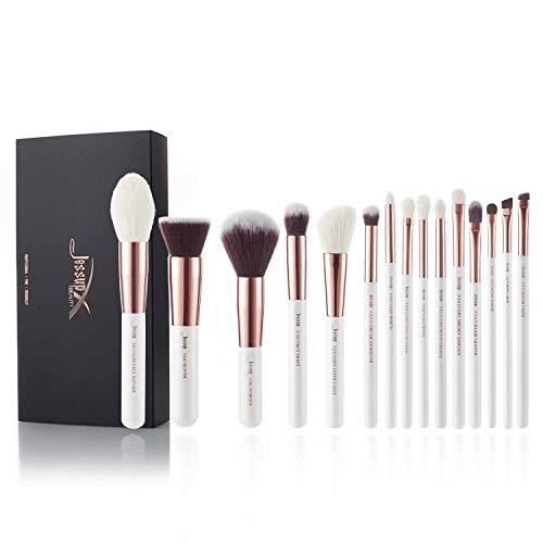 Jessup - Set professionale di 15 pennelli da trucco, per fondotinta, cipria, definer, ombretto, eyeliner, colore: bianco perla/oro rosa, codice T220
