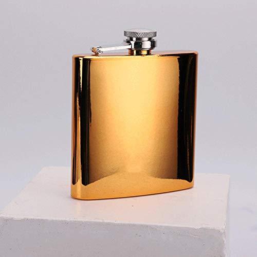 Piner 6 Oz roestvrijstalen heupfles Whisky wijnfles Retro Alcohol Pocket Flagon, Golden
