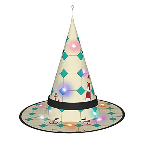 cercehy sonxs Patrón de azulejos con sombrero de bruja de barcos con luz, para Halloween, fiesta, disfraz, accesorio y uso diario