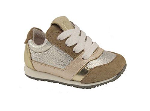 Braqeez, Mädchen Retro Sneaker Leder Beige, Gr. 22