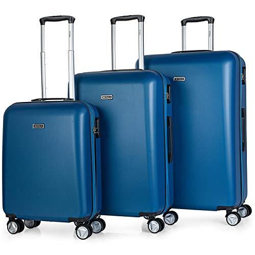 ITACA - Juego Maletas de Viaje Rígidas 4 Ruedas Trolley 55/61/71 cm ABS. Resistentes y Ligeras. Mango y Asas. Candado. Pequeña Cabina Low Cost Ryanair, Mediana y Grande. T58000, Color Azul Vaquero