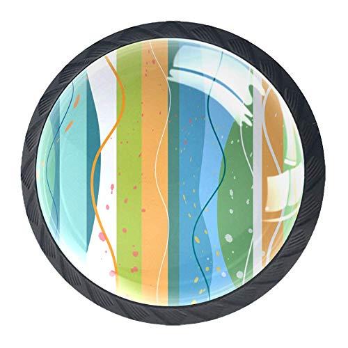 Kommode Möbelknöpfe Farbstreifen Wellen Kleiderschränke Knäufe kristall Küchengriff für Schrank Schublade Küche 4 Stück 3.5×2.8CM