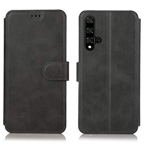 All Do Hülle für Huawei nova 5T/Honor 20 ,Premium PU Leder Flip Schutzhülle mit [Kartensteckplätze], [Ständer] [Magnetverschluss] Magnetisches Flip Wallet Case (Schwarz) - 5