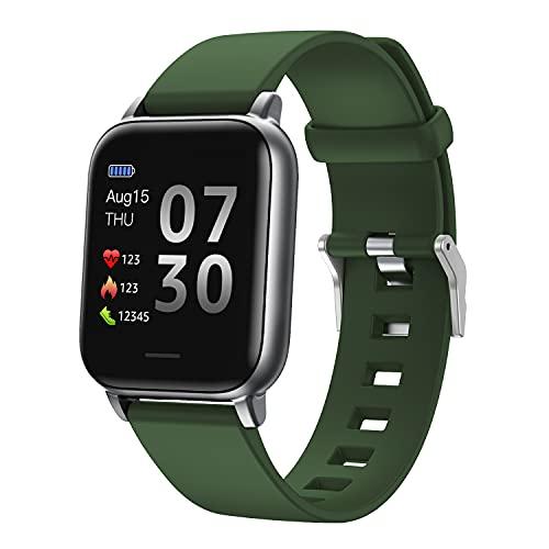 SUPBRO Reloj de pulsera inteligente para fitness, pulsómetro, resistente al agua IP68, rastreador de fitness, podómetro, reloj para hombre y mujer, para iOS y Android