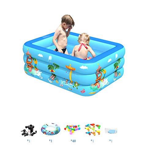 AWJK Kinder aufblasbarer Swimmingpool Baby-Haus Groß Pool Faltbare verdickte Erwachsene Kinder Planschbecken,180 × 130 × 55