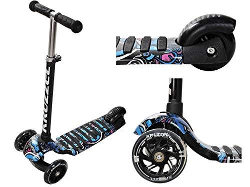 Kruzzel Kinderroller Tretroller Kickscooter Dreiradscooter Leuchträder Höheverstellbar 10282, Farbe:Schwarz/ Black