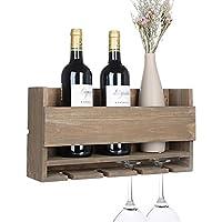 vencipo portabottiglie vino legno per 4 calici vino rosso organizer, mensole da muro design per cantinetta vino vintage, scaffale legno vino accessori per sala da pranzo, camera da letto e cucina