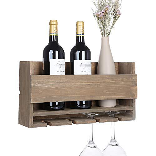 Vencipo Weinregal Holz zum 4 Gläser Flaschenregal Organizer, Vintage Gläserregal Wand für Küche Aufbewahrungs, Retro Wein Wand Dekoration für Wohnzimmer.