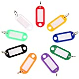 Uniclife 40 Pack Tough Plastic Key Tags with Split Ring Label Window, Assorted Colors