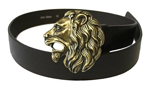 Dark Dreams Gothic Mittelalter brauner Ledergürtel mit Gürtelschnalle Löwenkopf Lion Löwe Lionhead in altmessing, Länge:95