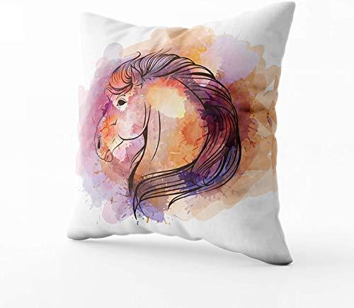 Art Funda de almohada, diseño de cabeza de caballo de acuarela de 45,7 x 45,7 cm, fundas de almohada con cremallera