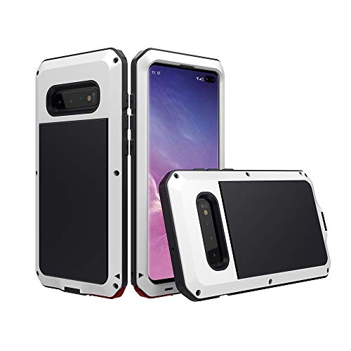 Galaxy S10 Plus Case,Mangix Shockproof Aluminum Metal Super Anti Shake Silicone with Screen Protector Fully Body Protection for Samsung Galaxy S10+/S10 Plus-2019 Newest Released (White)